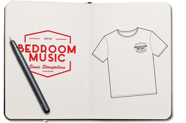 This is an image of a book with my logo and a t-shirt sketch used for my website bedroommusicrecords.com | Bedroom Music