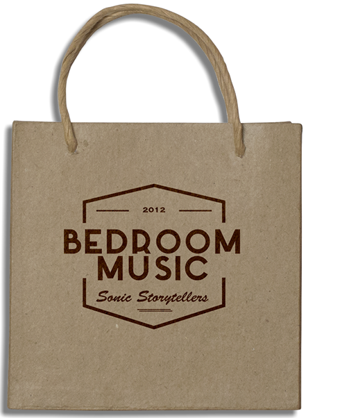 This is an image of a paper gift bag for my website bedroommusicrecords.com | Bedroom Music